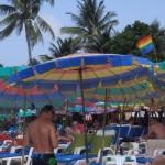 Look for the rainbow flag at the beach.