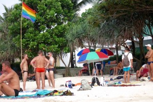 Look for the rainbow flag on Phuket Beach.